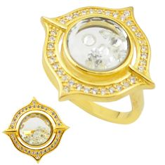 White cubic zirconia topaz 925 silver gold moving stone ring size 7.5 c22022