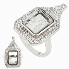 White cubic zirconia topaz 925 silver moving stone ring size 6.5 c22058
