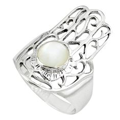 White pearl 925 silver hand of god hamsa ring jewelry size 6.5 c11969