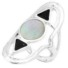 7.25gms white pearl black onyx enamel 925 sterling silver ring size 7 c12772