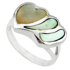 White pearl enamel 925 sterling silver heart ring jewelry size 6 c12920