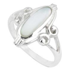 3.47gms white pearl enamel 925 sterling silver ring size 7.5 a88783 c13612