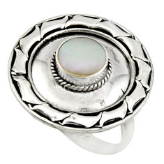 4.69gms white pearl enamel 925 sterling silver solitaire ring size 7.5 c9803