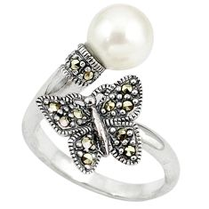 White pearl marcasite butterfly 925 silver adjustable ring size 6.5 c17461