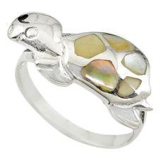 White pearl onyx enamel 925 silver tortoise ring jewelry size 7 c11935
