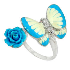 White topaz enamel 925 silver butterfly with flower ring size 6.5 c16779