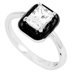1.74cts white topaz enamel 925 silver solitaire ring jewelry size 7 c20488