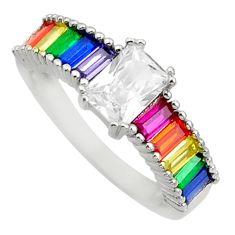 5.84cts white topaz quartz sapphire (lab) 925 sterling silver ring size 8 c10086