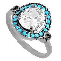 3.42cts white topaz sleeping beauty turquoise silver ring size 8.5 c23421