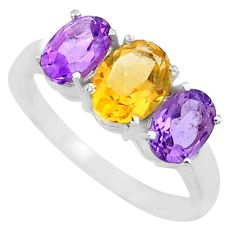 5.43cts yellow citrine amethyst 925 sterling silver 3 stone ring size 9 r71283