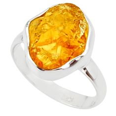 7.24cts yellow citrine rough 925 silver solitaire ring jewelry size 8.5 r48943