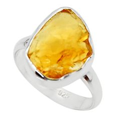 6.61cts yellow citrine rough 925 silver solitaire ring jewelry size 7.5 r48947