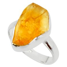 7.97cts yellow citrine rough 925 silver solitaire ring jewelry size 7.5 r48950