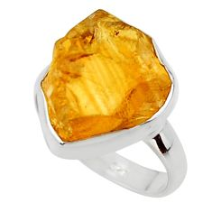 8.31cts yellow citrine rough 925 silver solitaire ring jewelry size 6 r48941