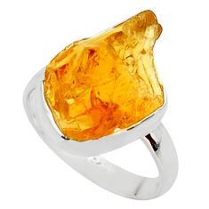 7.85cts yellow citrine rough 925 silver solitaire ring jewelry size 7 r48942