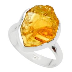 7.24cts yellow citrine rough 925 silver solitaire ring jewelry size 7 r48946