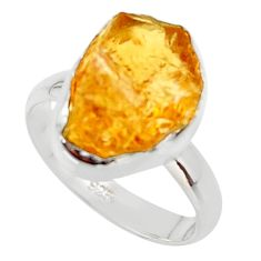 6.85cts yellow citrine rough 925 silver solitaire ring jewelry size 7 r48949