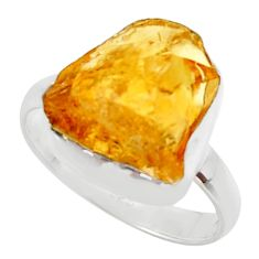 7.97cts yellow citrine rough 925 silver solitaire ring jewelry size 8 r48945