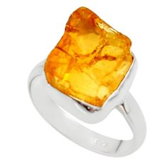 7.60cts yellow citrine rough 925 silver solitaire ring jewelry size 8 r48951