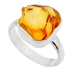 7.60cts yellow citrine rough 925 silver solitaire ring jewelry size 8 r48954