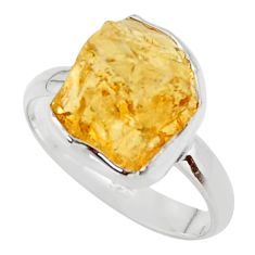 7.62cts yellow citrine rough 925 silver solitaire ring jewelry size 9 r48955