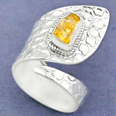 2.81cts yellow citrine rough 925 sterling silver adjustable ring size 8.5 r63375