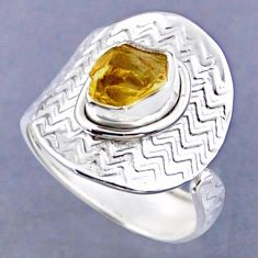 2.78cts yellow citrine rough 925 sterling silver adjustable ring size 8 r54797