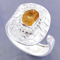 2.53cts yellow citrine rough 925 sterling silver adjustable ring size 9 r54767