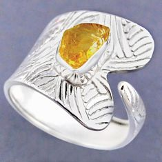 2.81cts yellow citrine rough 925 sterling silver adjustable ring size 9 r54816