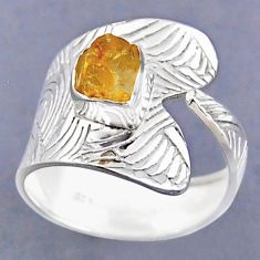 2.71cts yellow citrine rough 925 sterling silver adjustable ring size 9 r54817
