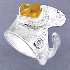 2.98cts yellow citrine rough 925 sterling silver adjustable ring size 9 r54835