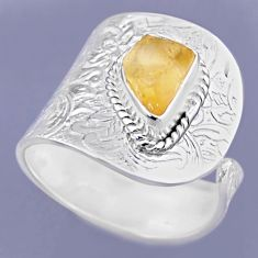 3.42cts yellow citrine rough 925 sterling silver adjustable ring size 9 r54911