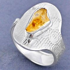 2.89cts yellow citrine rough 925 sterling silver adjustable ring size 9 r63307