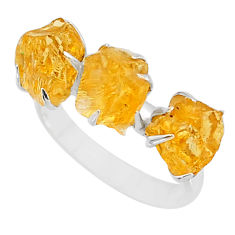 8.95cts yellow citrine raw 925 sterling silver ring jewelry size 8 t7142