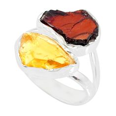 9.83cts yellow citrine raw garnet rough 925 silver handmade ring size 6 r73979