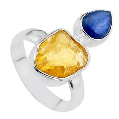 8.26cts yellow citrine raw kyanite 925 sterling silver ring size 7 t48932