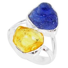 12.06cts yellow citrine raw tanzanite rough 925 silver ring size 6 r73977