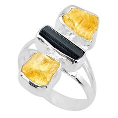 11.57cts yellow citrine rough tourmaline raw 925 silver ring size 7.5 r73796