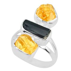 12.52cts yellow citrine rough tourmaline raw 925 silver ring size 7 r73797