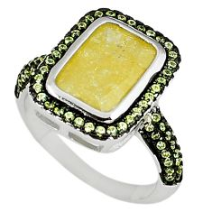 Yellow crack crystal octagan topaz 925 sterling silver ring size 7 c22928
