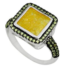 Yellow crack crystal topaz 925 sterling silver ring jewelry size 9.5 c22922