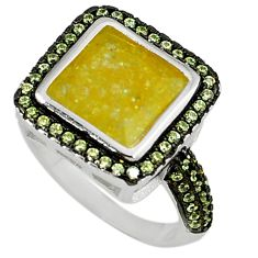 Yellow crack crystal topaz 925 sterling silver ring jewelry size 6.5 c22926