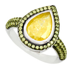 5.28cts yellow crack crystal topaz 925 sterling silver ring jewelry size 7 c9118