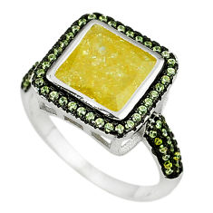Yellow crack crystal topaz 925 sterling silver ring jewelry size 8 c22921