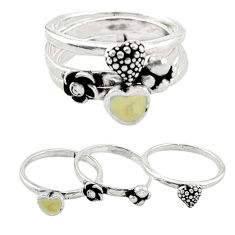Yellow enamel 925 sterling silver 3 band rings jewelry size 7.5 c20957