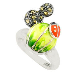 Yellow marcasite enamel 925 sterling silver ring jewelry size 7.5 c16083
