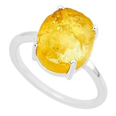 5.14cts yellow raw citrine rough 925 sterling silver ring jewelry size 7 r88885
