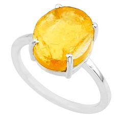 5.17cts yellow raw citrine rough 925 sterling silver ring jewelry size 7 r88886