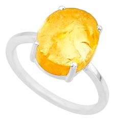 5.17cts yellow raw citrine rough 925 sterling silver ring jewelry size 7 r88888
