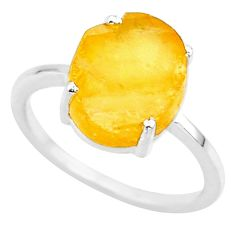 4.86cts yellow raw citrine rough 925 sterling silver ring jewelry size 7 r88891